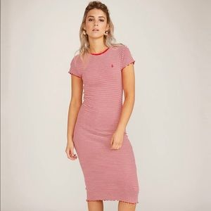 NEW Volcom Stone Colder Shoulder Striped Dress XS